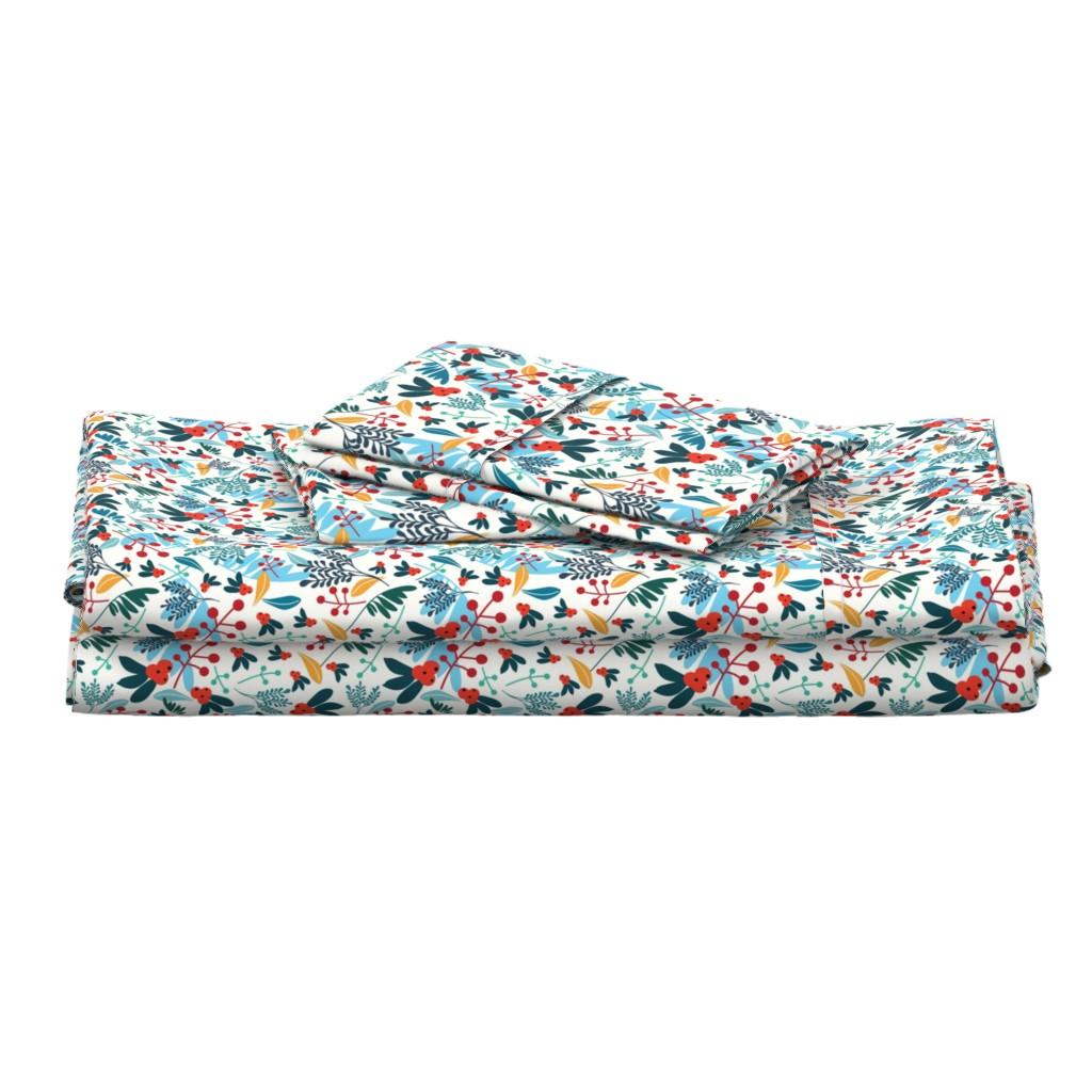 Langshan Full Bed Set featuring Winter berries by narae_studio