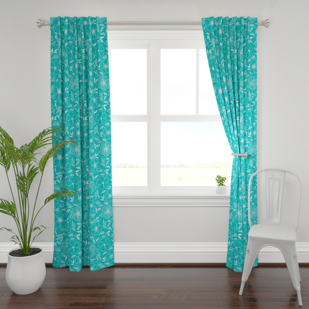 Plymouth Curtain Panel featuring Winter Florals by kathryncole