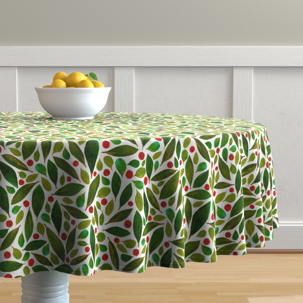 Malay Round Tablecloth featuring holiday greens + berries  by pattyryboltdesigns