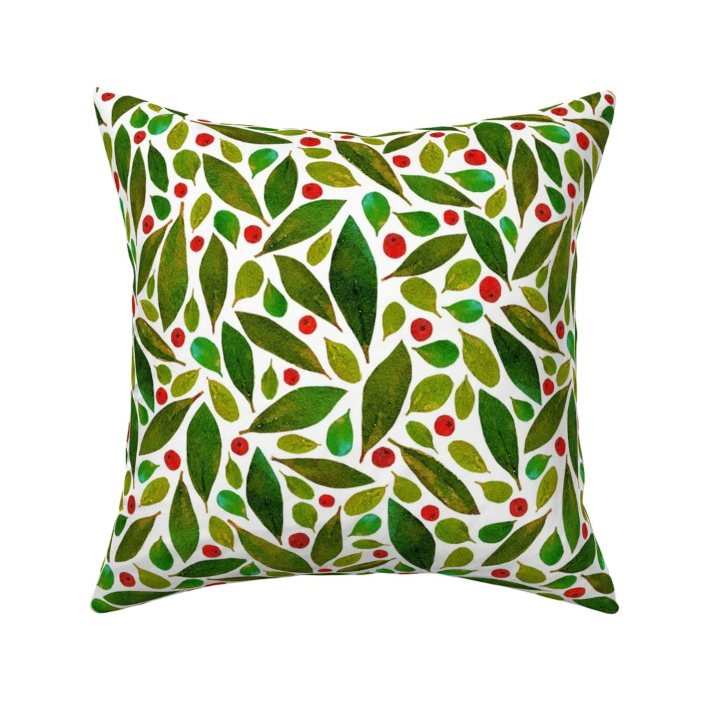 Catalan Throw Pillow featuring holiday greens + berries  by pattyryboltdesigns