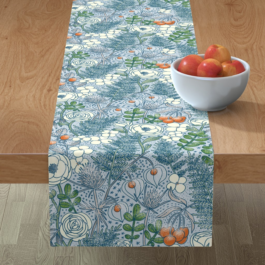 Minorca Table Runner featuring Frozen winter blossom by stolenpencil
