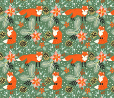 Foxes in Christmas flora