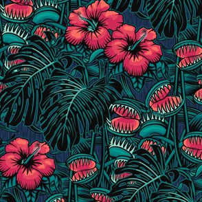 ★ TROPICAL NIGHT ★ Carnivorous Plant, Hibiscus & Monstera / Pink + Teal, Small Scale / Collection: It's a Jungle Out There – Savage Hawaiian Prints