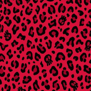 ★ SKULLS x LEOPARD ★ Cherry Red - Medium-Small Scale / Collection : Leopard Spots variations – Punk Rock Animal Prints 3