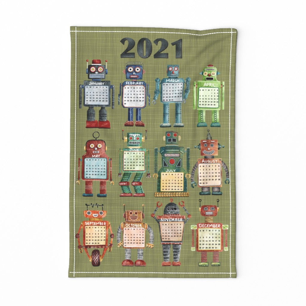 Special Edition Spoonflower Tea Towel featuring Vintage Toy Robot Tea Towel 2020 by leilaandpostudio