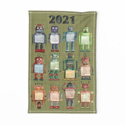 Vintage Toy Robot Tea Towel 2021