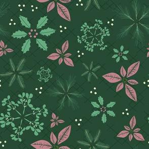 Christmas Botanical Snowflakes Pink
