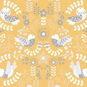 Scandinavian Floral Birds - Yellow Gray