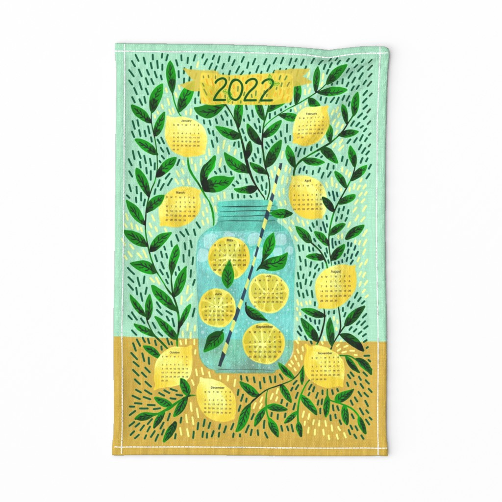 Special Edition Spoonflower Tea Towel featuring Lemons Lemonade Calendar by scarlette_soleil