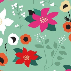 Pointsettia and poppies