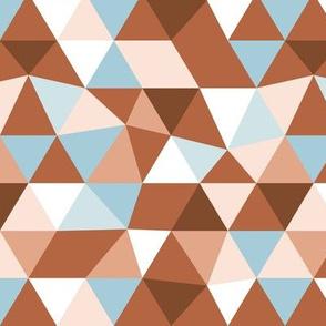Modern geometric triangle pattern copper rust blue