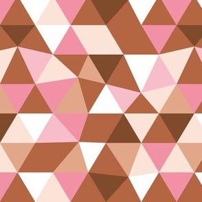 Modern geometric triangle pattern copper rust pink peach