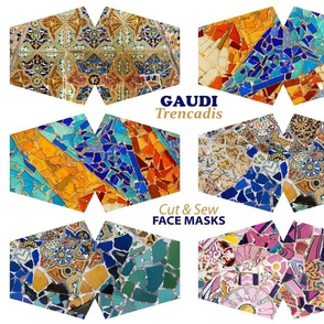 6 Gaudi Modernist Mosaic Cut and Sew Face Masks