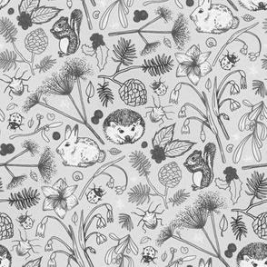Winter Woodland Creatures in Black & White - medium