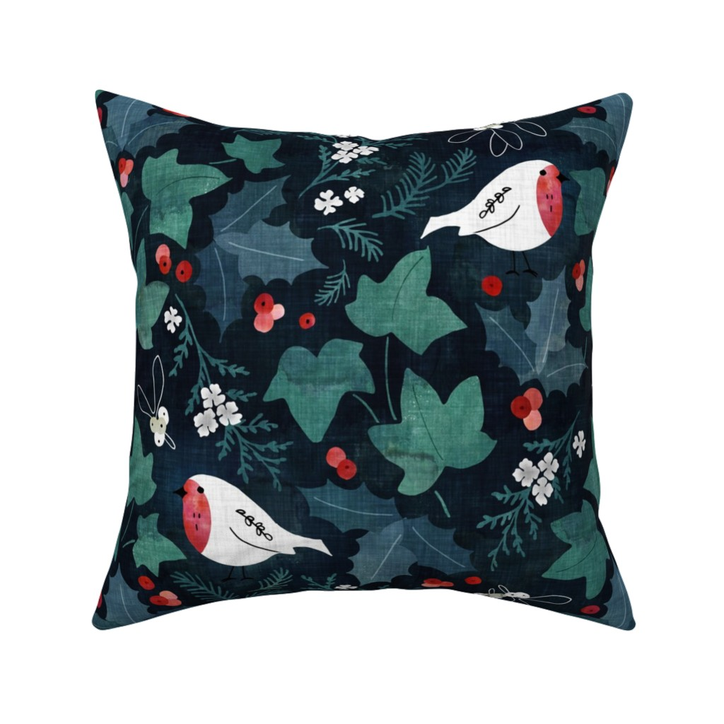 Catalan Throw Pillow featuring Festive winter flora by adenaj