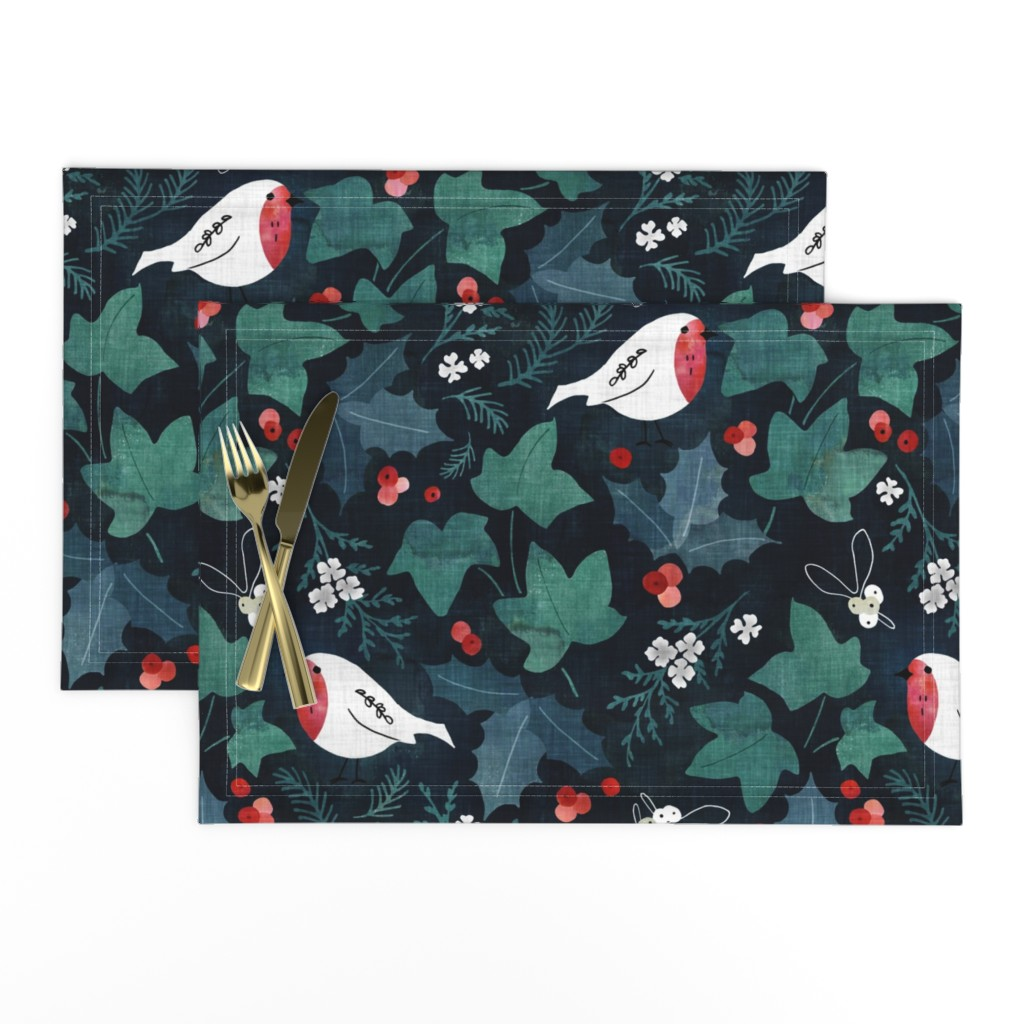 Lamona Cloth Placemats featuring Festive winter flora by adenaj