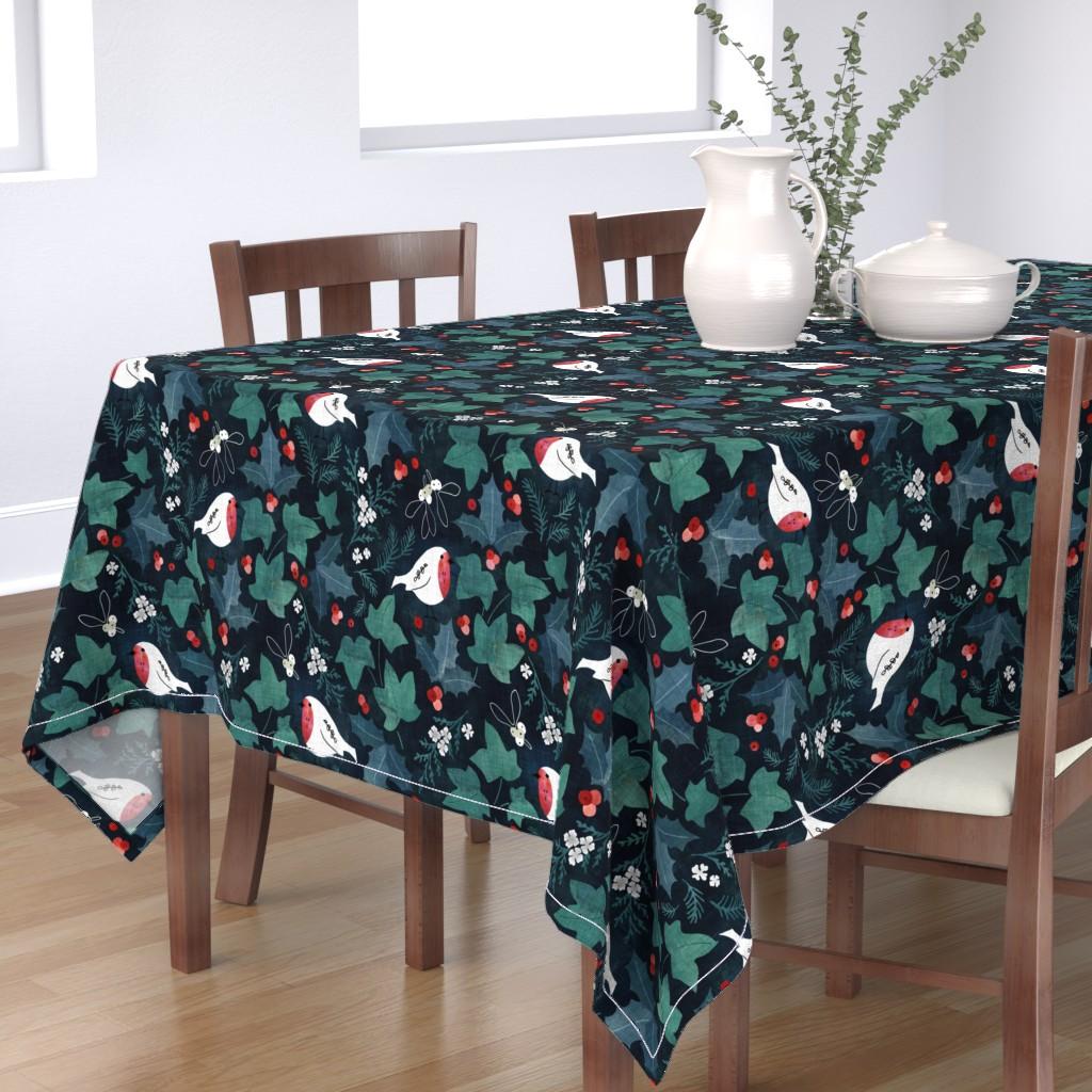 Bantam Rectangular Tablecloth featuring Festive winter flora by adenaj