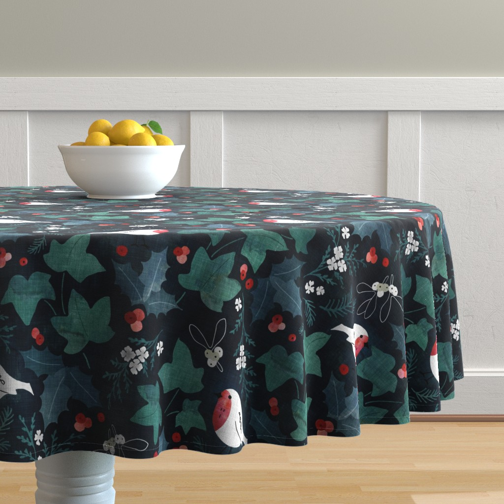 Malay Round Tablecloth featuring Festive winter flora by adenaj