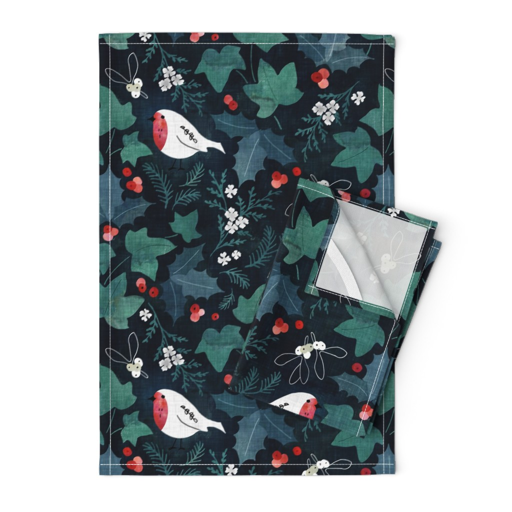 Orpington Tea Towels featuring Festive winter flora by adenaj