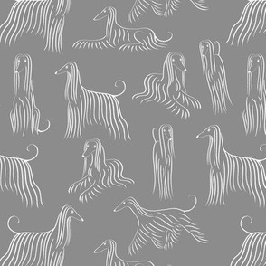 Afghan Hounds Pattern (Grey Background)