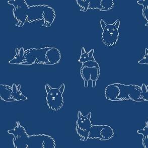 Corgi Pattern (Navy Background)