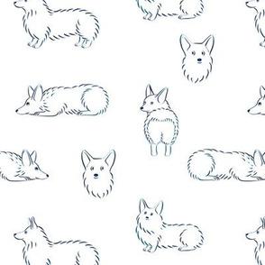 Corgi Pattern (White Background)