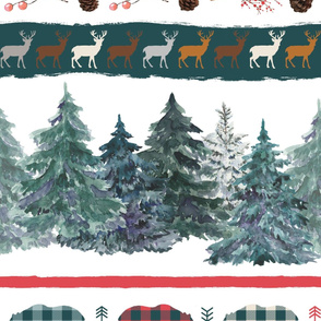 Large stripe Christmas blanket or cheater quilt with bears, deers, plaid, pine trees, pine cones