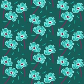 Dark Florals- Teal