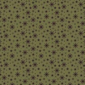 xmas flora | starry sky dark bordaux on green