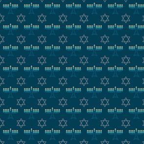 Menorahs and Stars - Modern Hanukkah Fabric