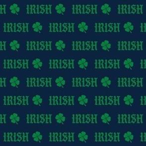 irish -  navy and green shamrock fabric