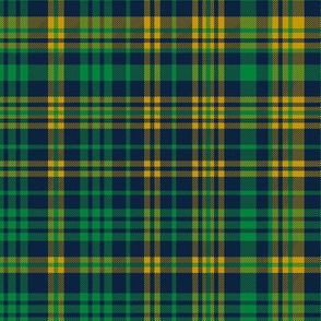 notre dame plaid  - gold blue and green fabric
