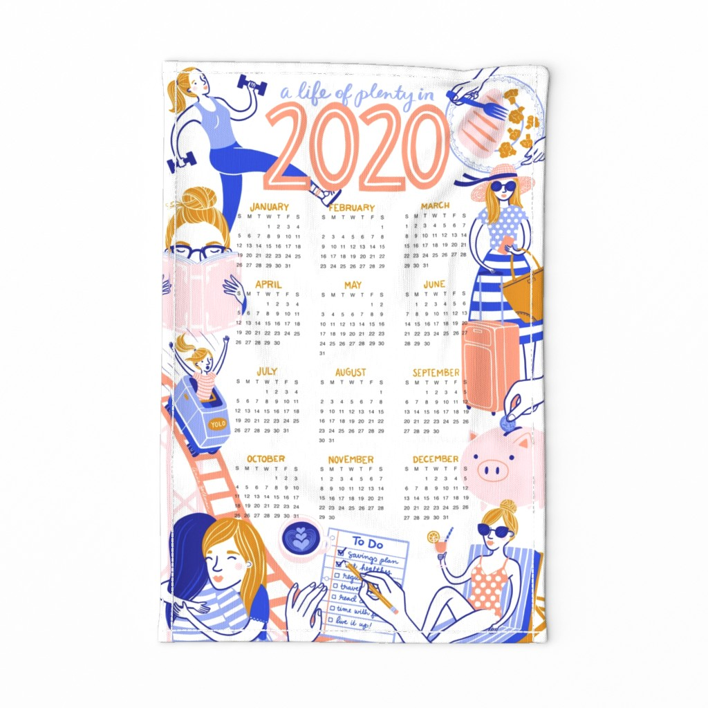 Special Edition Spoonflower Tea Towel featuring 2020 Resolutions Tea Towel Calendar by annewashere