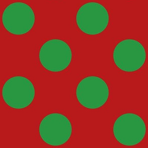 Large polka dots in green on red