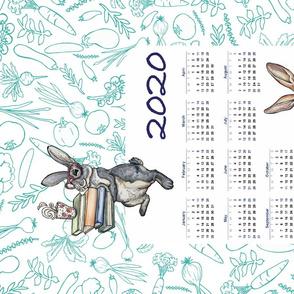 2020 Hungry Bunny Calendar Tea Towel by ArtfulFreddy