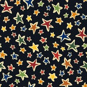 Star Light: Black, small scale fabric, quilting