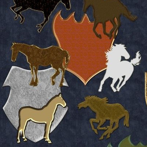 Horses and Heraldry on Blue