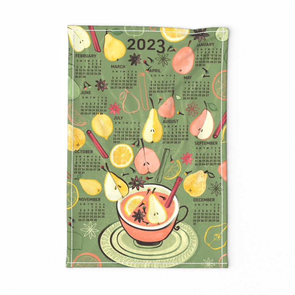 Special Edition Spoonflower Tea Towel featuring 2020 Calendar, Sunday / Spiced Pear by marketa_stengl