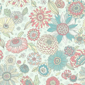 Illustrated Floral Big Colorful Flowers