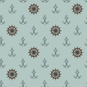Anchors and Ship Wheels Soft Blue