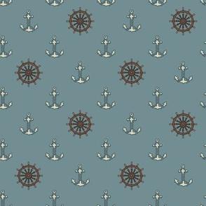 Ships Wheels & Anchors Stormy Sea Blue