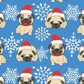 Christmas Pug in Santa Hat with Snowflakes