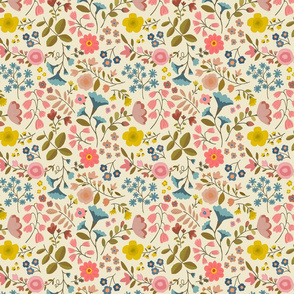 "WOODLAND FLOWERS 7"" cream"