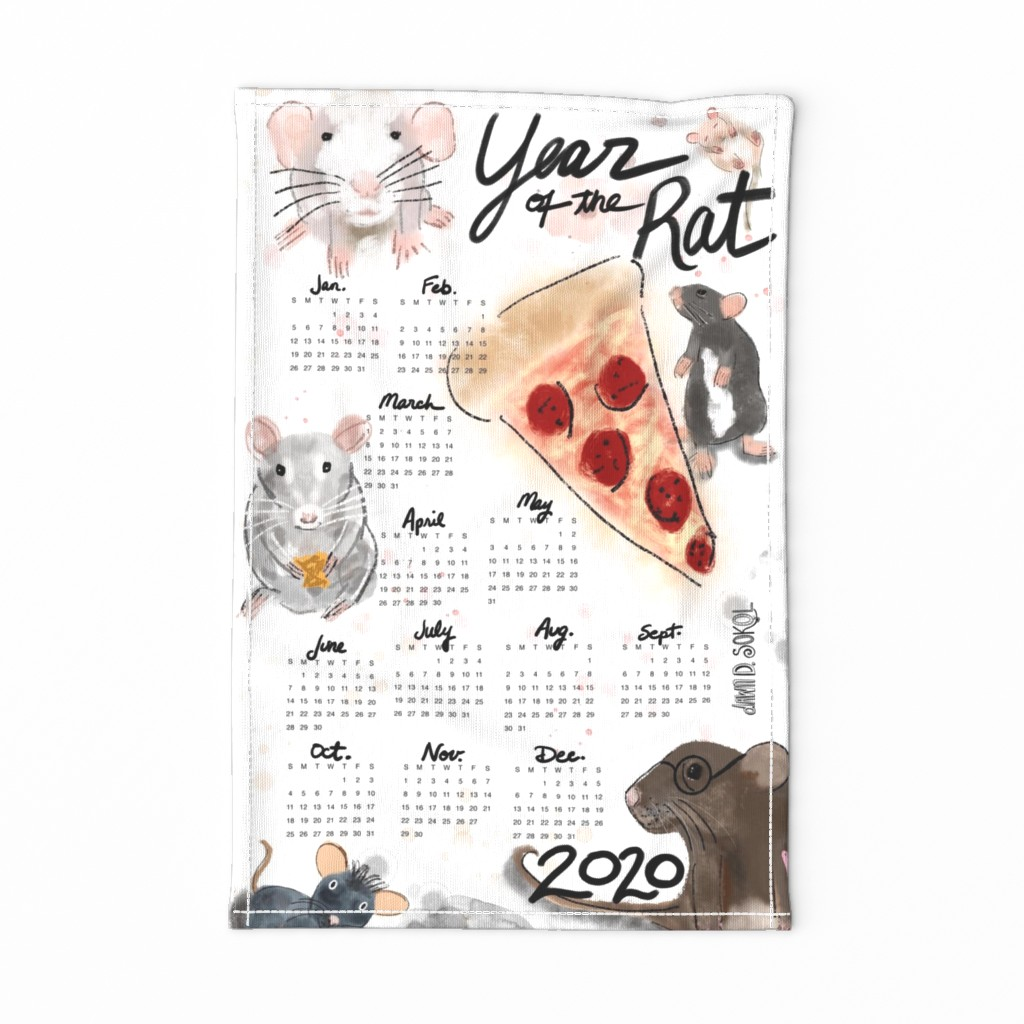 Special Edition Spoonflower Tea Towel featuring 2020 Year of the Rat towel by dawndsokol
