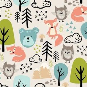 Woodland Animals-Beige