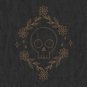 Skull Embroidery Swatch - Charcoal