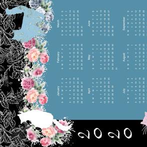 Beautiful Kitty Rose Garden 2020 Calendar Tea Towel