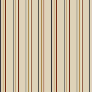 Stripes - Crimson, tan and Dark Grey