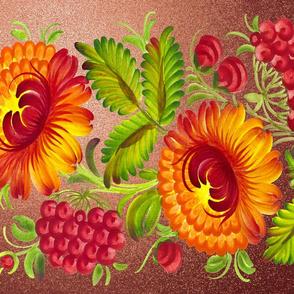 Folk Art Sunflowers and Fruit Design Challenge on Copper Glitter