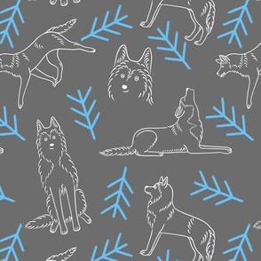 Minimalistic Huskies Pattern (Dark Grey Background)